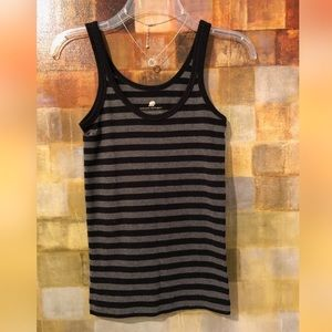 BR Gray & Black Striped Organic Cotton Tank Top